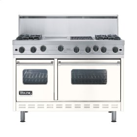 """Cotton White 48"""" Open Burner Range - VGIC (48"""" wide, four burners 12"""" wide griddle/simmer plate 12"""" wide char-grill)"""