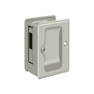 "HD Pocket Lock, Adjustable, 3 1/4""x 2 1/4"" Sliding Door Receiver - Brushed Nickel"