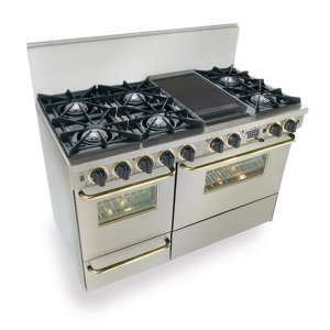 "Five Star48"" Dual Fuel, Convect, Self Clean, Open Burners, Stainless Steel with Brass Trim"