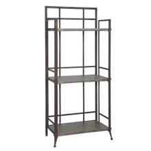 "Foundry ""Antique Pewter"" 35"" 3-Shelf Bookcase"