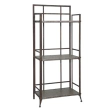 "Foundry ""Antique Pewter"" 35"" 3-Shelf Bookcase"