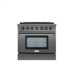 Thor Kitchen36 Inch Professional Gas Range In Black Stainless Steel