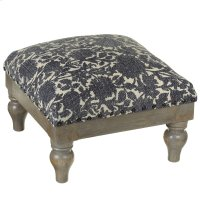 Indigo Floral Block Print Stool (Each One Will Vary). Product Image