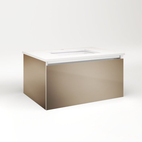 """Cartesian 30-1/8"""" X 15"""" X 21-3/4"""" Slim Drawer Vanity In Satin Bronze With Slow-close Full Drawer and Selectable Night Light In 2700k/4000k Temperature (warm/cool Light)"""