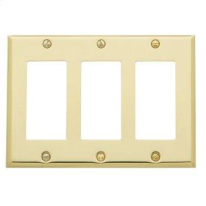 Polished Brass Beveled Edge Triple GFCI Product Image