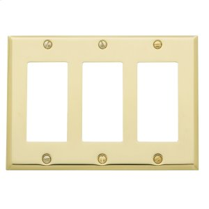 Polished Brass Beveled Edge Triple GFCI Product Image