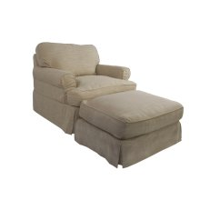 Sunset Trading Horizon Slipcovered Chair and Ottoman - Color: 466082