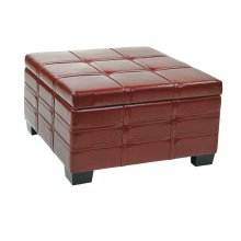 Detour Strap Ottoman With Tray In Crimson Red Bonded Leather