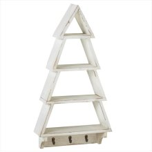 Distressed White Christmas Tree Wall Shelf with Hooks.