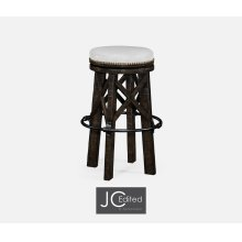 Country Style Dark Ale & Iron Bar Stool, Upholstered in COM