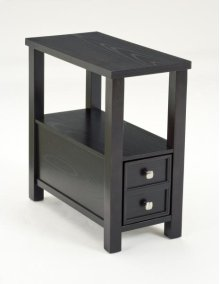 Espresso Side Table with 2 Drawers
