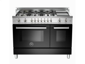 Black 48 6-Burner, Electric Double Oven