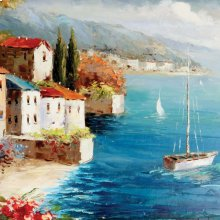 Boat By The Beach Oil Painting On Canvas
