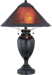 Table Lamp, Dark Bronze/mica Shade, E27 Cfl 13wx2