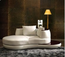 Divani Casa Rodus - Rounded Leather Chaise With Wood Trim