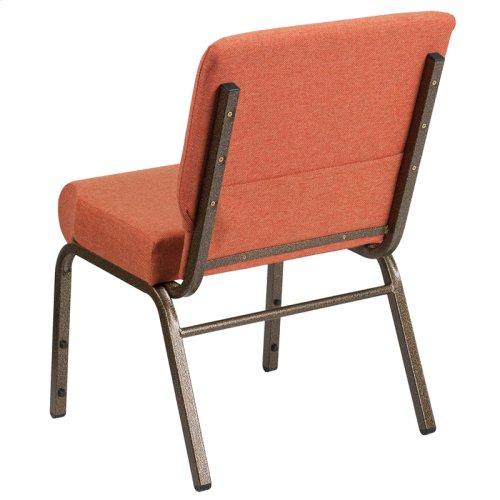 HERCULES Series 21''W Stacking Church Chair in Cinnamon Fabric - Gold Vein Frame