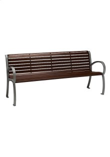 District 6' Bench with Back and Arms, Faux Wood Slat