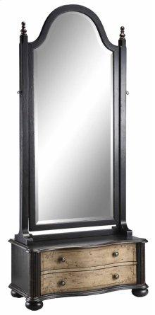 Cheval Mirror 2dw Textured Black/tan