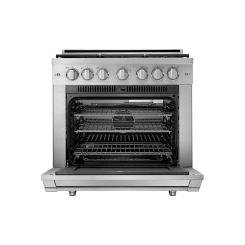 """36"""" Heritage Gas Pro Range, Silver Stainless Steel, Natural Gas/High Altitude"""