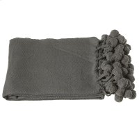 Charcoal Grey Throw with Pom-Poms Product Image