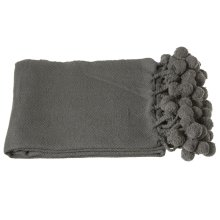 Charcoal Grey Throw with Pom-Poms