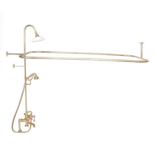 Code Rectangular Shower Unit - Lever with Finials / Polished Brass