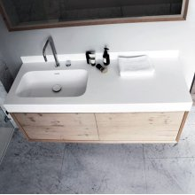 "series 1400 blustone™ vanity top with left offset basin, 4"" thick, White gloss 55 1/4"" x 20 1/4"""