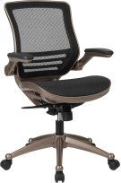 Mid-Back Transparent Black Mesh Executive Swivel Chair with Melrose Gold Frame and Flip-Up Arms Product Image