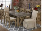 Boulder Ridge Concrete Dining Table with 4 Side Chairs and 2 Slip Covered Chairs Product Image