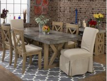Boulder Ridge Concrete Dining Table with 4 Side Chairs and 2 Slip Covered Chairs