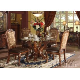 Dresden Cherry Oak Finish Dining Table Set