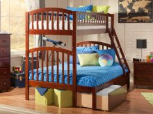 Richland Bunk Bed Twin over Full with Urban Bed Drawers in Walnut