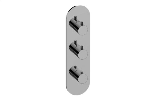 M-Series Round Thermostatic 3-Hole Trim Plate and Handle