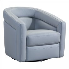 Desi Contemporary Swivel Accent Chair in Dove Grey Genuine Leather