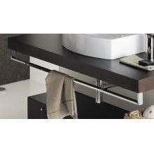 "Countertop-mounted metal towel bar, 39""W, 4 7/8""H"