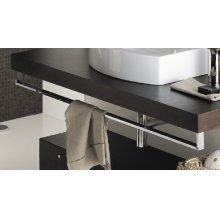 "Countertop-mounted metal towel bar, 39""W, 4 7/8""H"