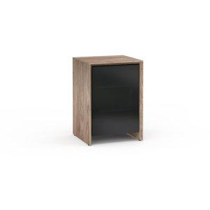 Salamander DesignsBarcelona 317, Single-Width Audio Cabinet, Natural Walnut with Black Glass Doors