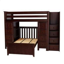 All in One Staircase Loft Bed Storage Storage   Twin Bed Espresso