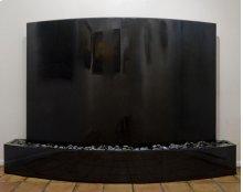 Curved Waterwall, Black Granite Indoor Surround / Black Granite