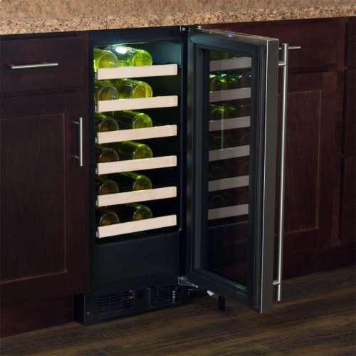 "15"" High Efficiency Single Zone Wine Cellar - Panel-Ready Solid Overlay Door - Integrated Right Hinge (handle not included)*"