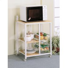 Natural Brown and White Casual Kitchen Cart