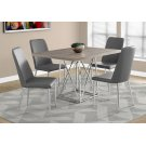 """DINING TABLE - 36""""X 48"""" / DARK TAUPE / CHROME METAL Product Image"""