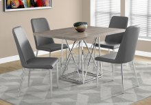 "DINING TABLE - 36""X 48"" / DARK TAUPE / CHROME METAL"