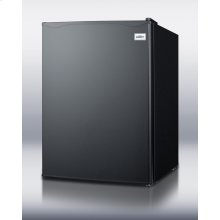 Compact all-refrigerator with automatic defrost, glass shelves, and black exterior finish