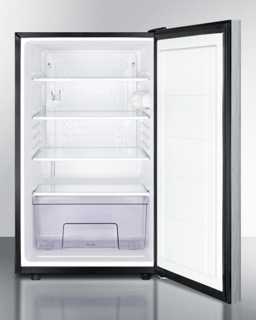 "20"" Wide Built-in Undercounter All-refrigerator for General Purpose Use, Auto Defrost With A Lock, Stainless Steel Door, Horizontal Handle and Black Cabinet"