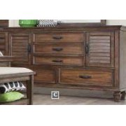 Franco Burnished Oak Five-drawer Dresser With Two Louvered Doors Product Image