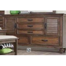 Franco Burnished Oak Five-drawer Dresser With Two Louvered Doors