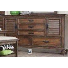 Franco Burnished Oak Five-drawer Dresser With Two Louvered Doors