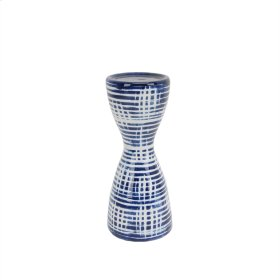 "Blue/white Ceramic Candle Holder 9.5"""