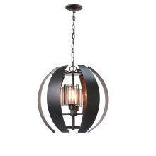 4-Light Industrial Chandelier in Oil Rubbed Bronze